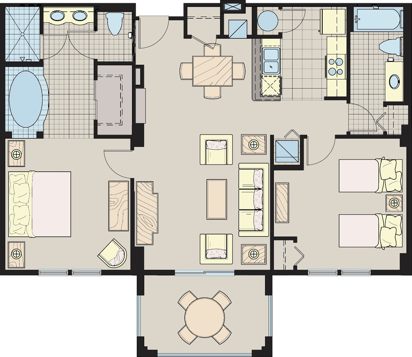 Floor Plan for 2403 2Bedroom/2Bath Comfortable Condo with South Facing Sunny Covered Patio at The Lake Buena Vista Resort Village and Spa - Shopping Mall View